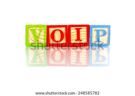 voip word reflection on white background - stock photo