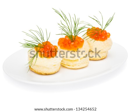 vol-au-vent with salmon caviar isolated on white - stock photo