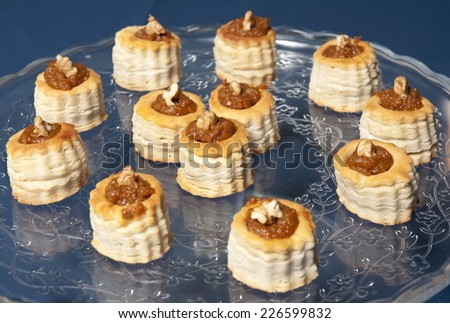 vol au vents with delicious nuts - stock photo