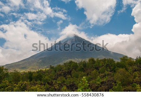 Volcanic activity at the top of the Arenal volcano next to La Fortuna in Costa Rica.