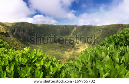 Volcanic Caldeira of Faial, Azores islands - stock photo