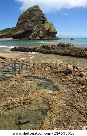 volcanic cliffs at Piha beach, New Zealand - stock photo
