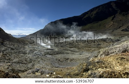 Volcanic crater that produce steam sulfur on mount papandayan, garut, indonesia - stock photo
