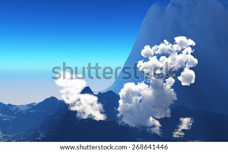 Volcanic eruption - the very beginning  - stock photo