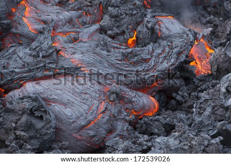 Volcanic eruption Tolbachik. Lava flow. - stock photo