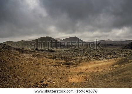 Volcanic landscape in Lanzarote Timanfaya National Park - stock photo