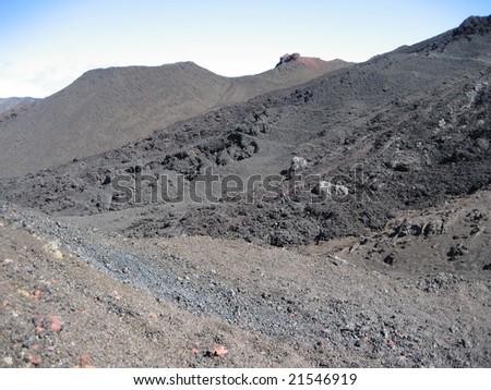 Volcanic landscape in Reunion Island - stock photo