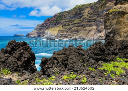 Volcanic landscape of the Azores, Portugal, Europe - stock photo