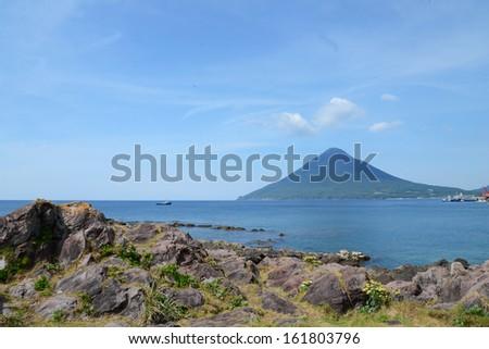 volcanic mountain - stock photo