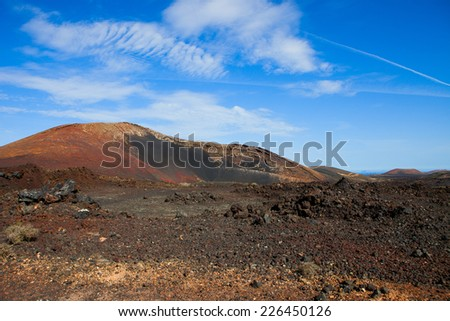 Volcanic  Mountain Ortiz , in Lanzarote island, Spain  - stock photo