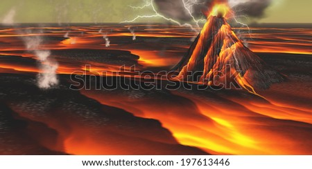 Volcanic Planet - This alien planet has continuous eruptions of its volcanoes with surrounding lava fields and flows. - stock photo