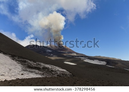 Volcanic plume ash of Mount Etna during its activity on April 2013 - stock photo