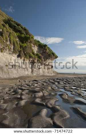 Volcanic rocks at low tide (Muriwai Beach, New Zealand) - stock photo