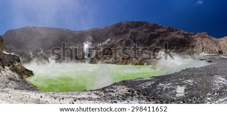Volcanic Sulfur Crater Lake - inside the crater, colorful ground, white smoke - Whakarri or White Island in the Bay of Plenty, New Zealand. - stock photo
