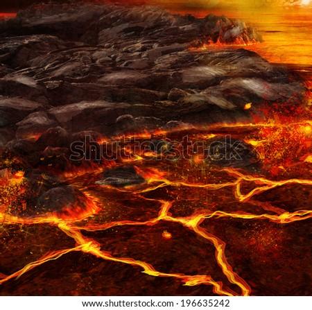 Volcanic terrain landscape illustration - stock photo