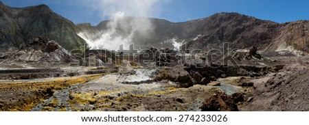 Volcanic Wasteland Panorama - inside the crater, colorful ground, white smoke - Whakarri or White Island in the Bay of Plenty, New Zealand. - stock photo
