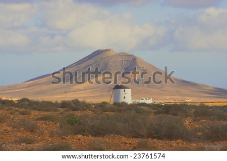Volcano and windmill. Fuerteventura