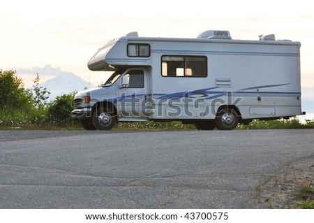 volcano behind motor home - stock photo