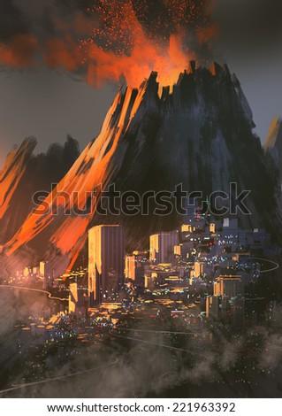 volcano city ,digital painting - stock photo