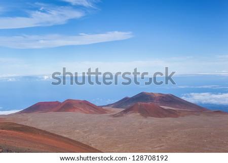 Volcano craters on Mauna Kea Mountain, Big Island, Hawaii - stock photo