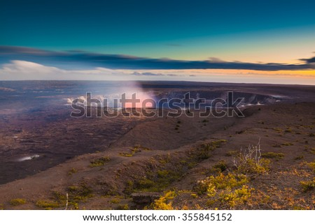 Volcano erupting on Big Island,  Hawaii - stock photo