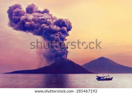 Volcano eruption. Anak Krakatau, Indonesia - stock photo