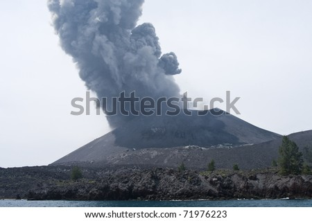 Volcano eruption. Anak Krakatau, Indonesia