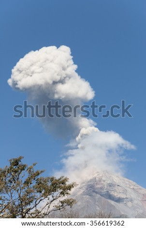 volcano, eruption, volcanic, active, mountain, crater, landscape, cloud, nature, hot, explosion, disaster, erupt, danger, gas, erupting, smoke, lava, natural, blue, geology, volcanism, america - stock photo
