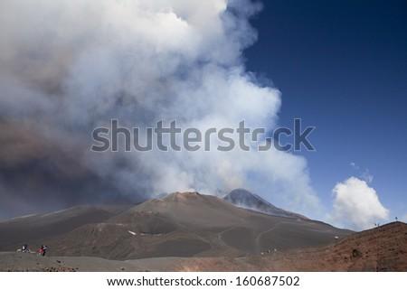 Volcano Etna eruption 26 October 2013 - Catania, Sicily - stock photo
