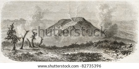 Volcano in Java island, Indonesia, old illustration. Created by De Bar after Steiger, published on Le Tour du Monde, Paris, 1860 - stock photo