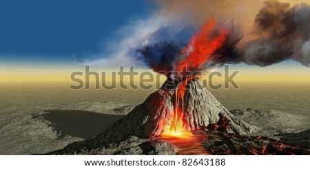 Volcano Smoke - An active volcano belches smoke and molten red lava in an eruption. - stock photo