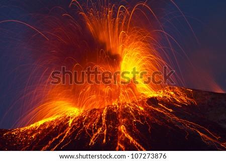 Volcano stromboli with spectacular eruptions - stock photo