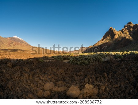 volcano Teide and its surrounding caldera Las Canadas at Tenerife - stock photo