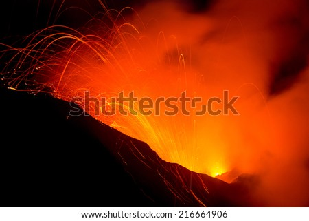 Volcano Yasur Eruption - stock photo