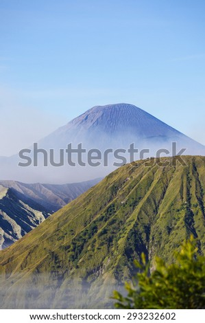 Volcanoes at Bromo Tengger Semeru National Park, East Java, Indonesia - stock photo