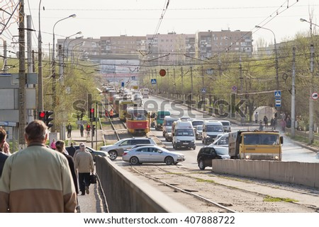 VOLGOGRAD - April 19: The trams are on rails in connection with a traffic accident on the road. April 19, 2016 in Volgograd, Russia.