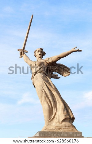 VOLGOGRAD, RUSSIA - April 08, 2017: A monument the Motherland calls! In honor of a victory in the Great Patriotic War (World War II). Volgograd, Russia is established on Mamayev Kurgan