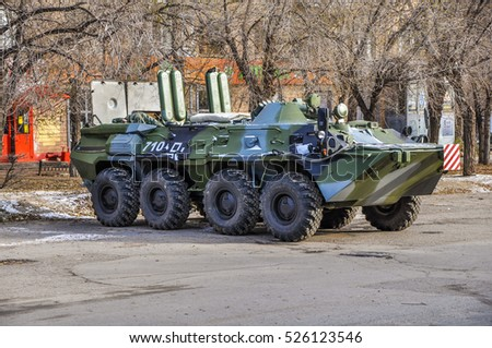 "Volgograd, Russia - November 18, 2016.: Preparation for the exhibition of military equipment on Lenin square and on the territory of the Museum - reserve ""battle of Stalingrad"" in Volgograd."