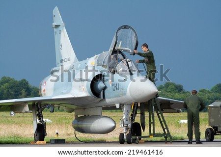 VOLKEL, NETHERLANDS - JUNE 16: French Air Force Mirage 2000 on display at the Royal Netherlands Air Force Days June 16, 2007 in Volkel, Netherlands.  - stock photo