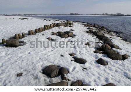Volkhov river near St. George monastery of the. Veliky Novgorod, Russia. - stock photo