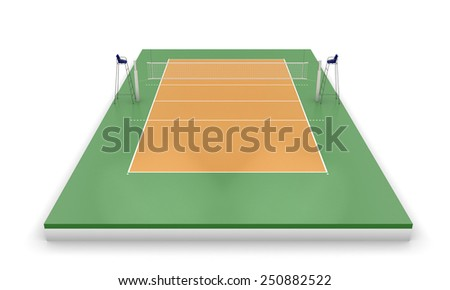 Volleyball court or field isolated on a white. 3d illustration. - stock photo