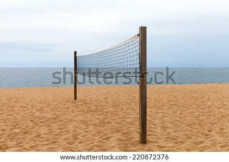 Volleyball net on the beach. - stock photo
