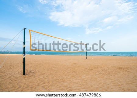 Volleyball nets erected ready for play on beach, pattaya thailand