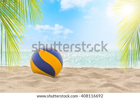 Volleyball on tropical beach - stock photo