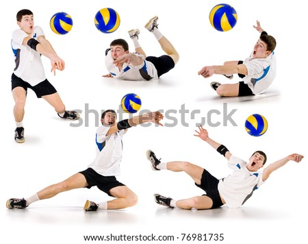 volleyball player beating on a ball in a jump on a white background.set of images.volleyball.athlete takes the ball - stock photo