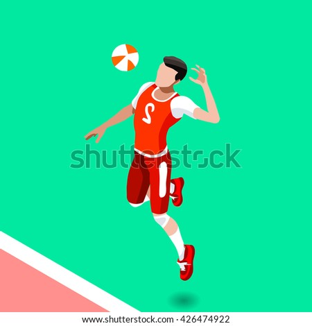Volleyball Player 2016 Summer Games Icon Set. 3D Isometric Beach Volleyball. Sporting Championship International Beach Volley Match Competition. Sport Infographic olympics Volley Illustration. - stock photo