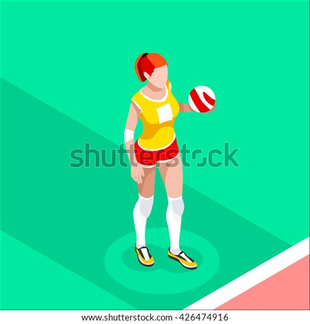 Volleyball Player 2016 Summer Games Icon Set.3D Isometric Indoor Volleyball.Sporting Championship International Volley Team Match Competition.Sport Infographic Volleyball olympics Vector Illustration. - stock photo