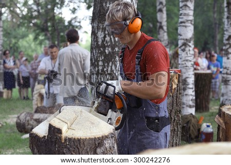Vologda, RUSSIA - July 4: handicrafts at street festival on July 4, 2015, in Vologda, Russia - stock photo