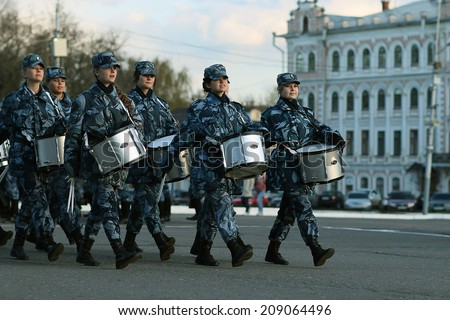 Vologda, RUSSIA - MAY 8: Dress rehearsal of Military Parade in Vologda on MAY 8, 2014, in Vologda, Russia