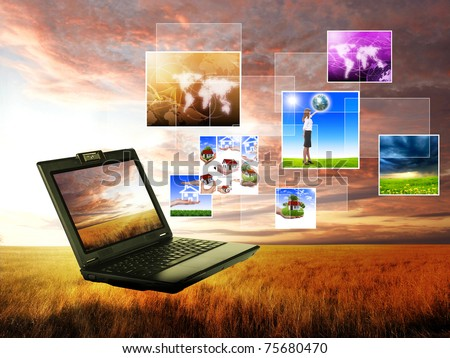 volor collage of notebook against green nature background - stock photo